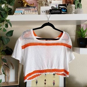 Free people we the free orange white crochet top
